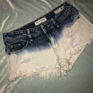 Blue/white distressed Jean shorts